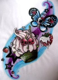 skull-cake-butterfly-tattoo-design