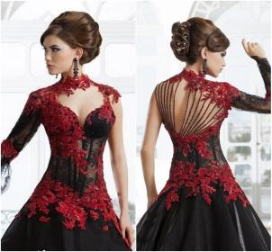 black20and20red20lace20wedding20dresses20ball20gown20stand-up20high20neck20sexy20illusion20long20sleeves20sheer20bodice20victorian20vintage20bridal20gown20gothic