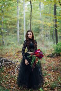 bohemian-black-two-pieces-lace-wedding-dress