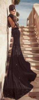 Glamorous-Oved-Cohen-black-mermaid-wedding-dress
