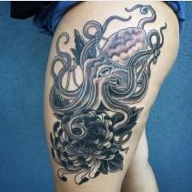 octopus-tattoo-flower