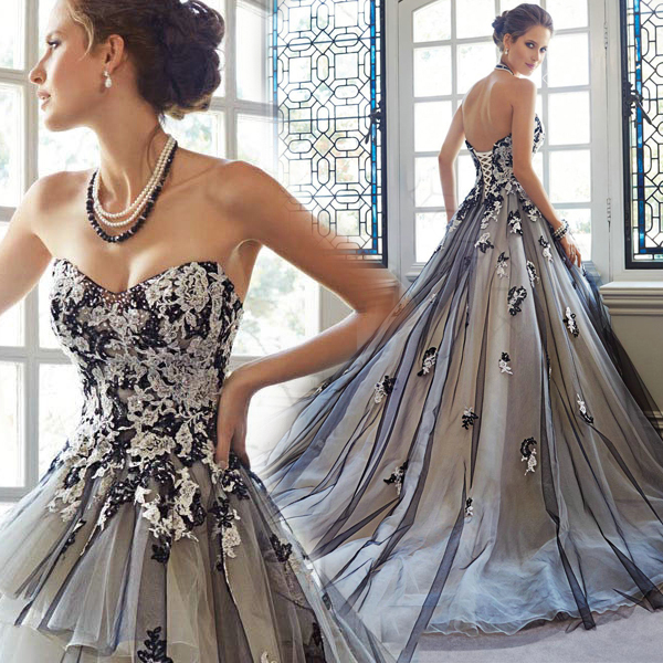 romantic-ball-gown-black-and-white-colorful-wedding-dresses-vestido ...