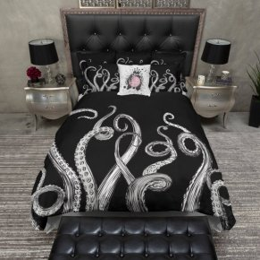 octo bedding black white tenticles